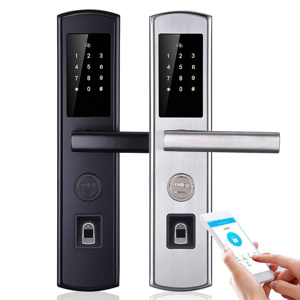 WiFi Biometric Fingerprint Smart Lock,Handle Electronic Door Lock,App/Fingerprint/RFID/Key Touch Screen Digital Password Lock