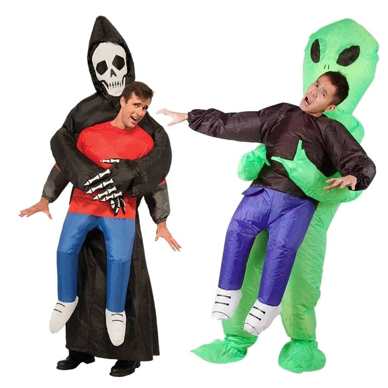 Halloween Party Funny Inflatable Costume For Adult Kid Grim Reaper Green Alien Fancy Dress Cosplay Inflatable Costume Jumpsuit
