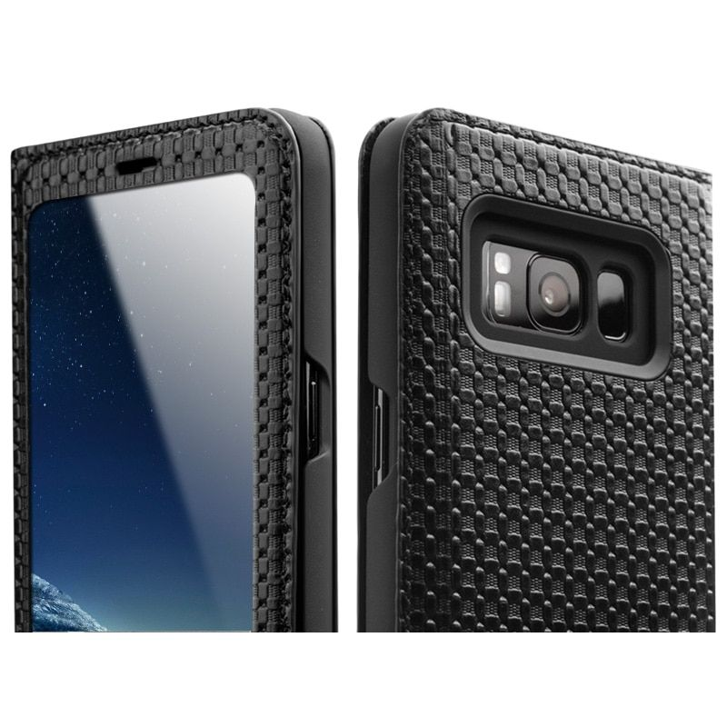 QIALINO Case for Samsung Galaxy S8 & S8 Plus Smart View Flip Genuine Leather Cover for Samsung S8 with Sleep Wake Up Function