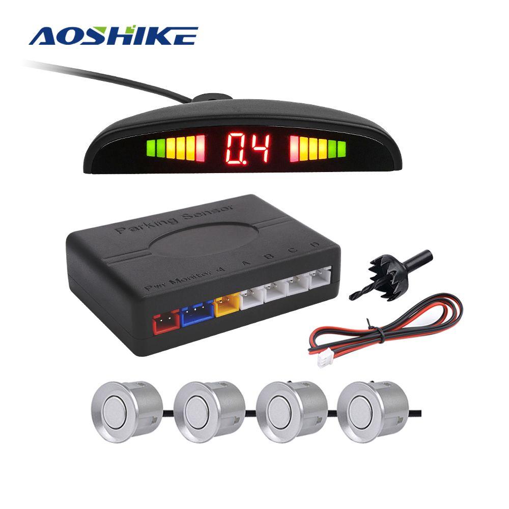 AOSHIKE nouveau capteur de stationnement automatique Parktronic LED avec 4 capteurs système de détecteur de surveillance de voiture Radar de stationnement de voiture de secours inverse