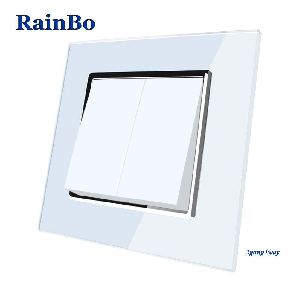 RainBo Marque Fabricant 2gang1way Cristal De Luxe En Verre De Mode Panneau Push Bouton Inteligente Mur Interrupteur A1721W/B