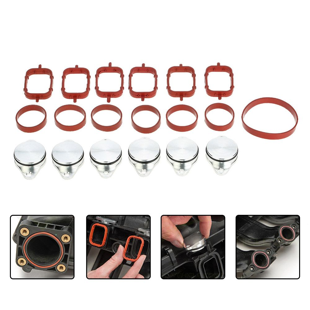 SI-A0137 33mm Diesel Swirl Flap Blanks Replacement Bungs with Intake Manifold Gasket for BMW 320d 330d 520d 525d 530d 730d