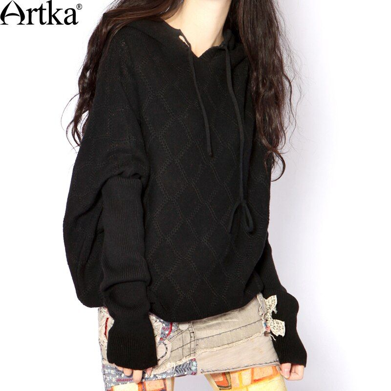 Artka Women's Classic All-match 2 Colors Hoodie Vintage Batwing Sleeve Comfy Knitwear Y010355Q