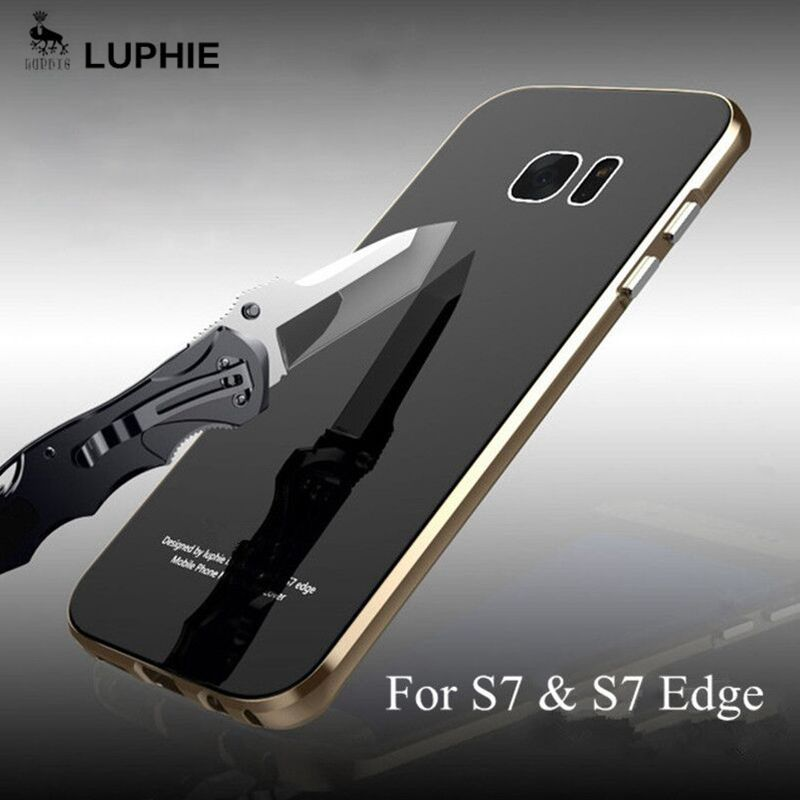 For Samsung Galaxy S7 Edge Case Original Luphie metal frame with Tempered Glass back cover For Samsung S7 S7 Edge Cases Fundas