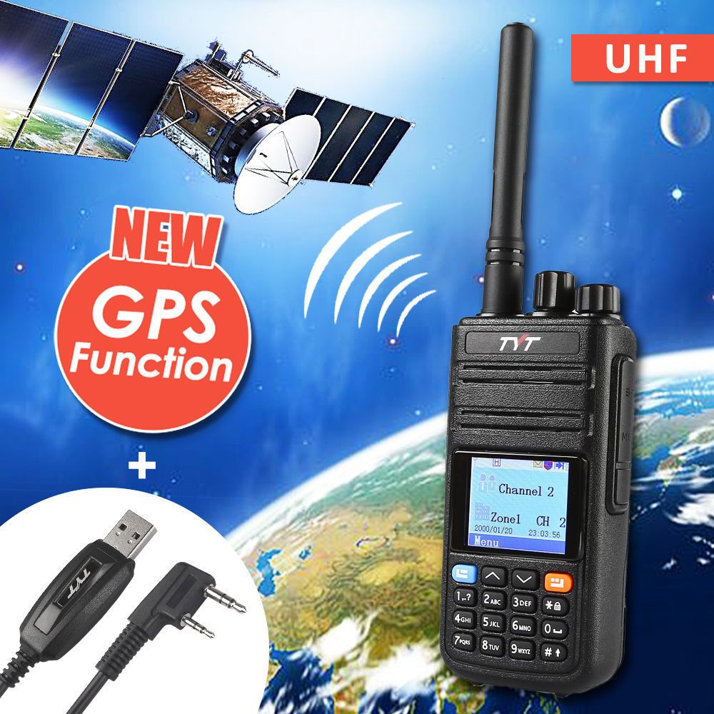 TYT Tytera MD-380G GPS UHF 400-480MHz DMR Digital Radio Walkie Talkie Ham Transceiver with md380 USB Programming Cable CD