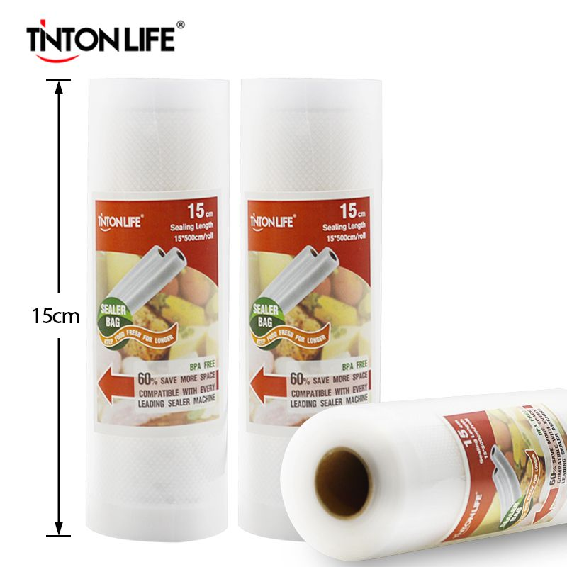 TINTON VIE 15 cm x 500 cm/Rolls Vide Scellant Alimentaire De Stockage Sacs Saran Wrap