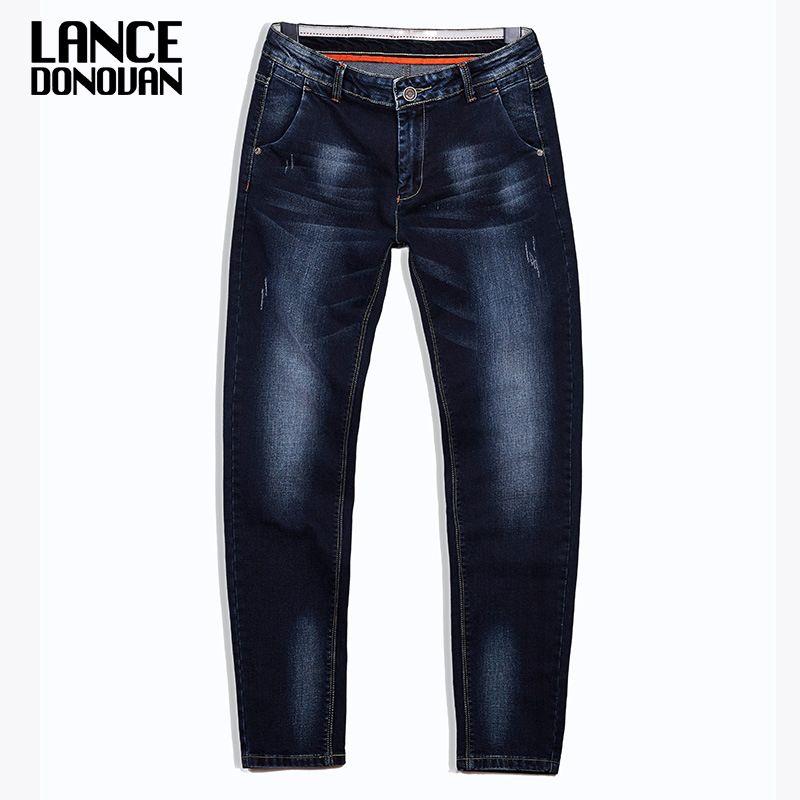 High Quality Stretch Plus Big Size 29 - 44 46 48 90% Cotton Straight Denim Jeans Men Famous Brand 2017 Spring