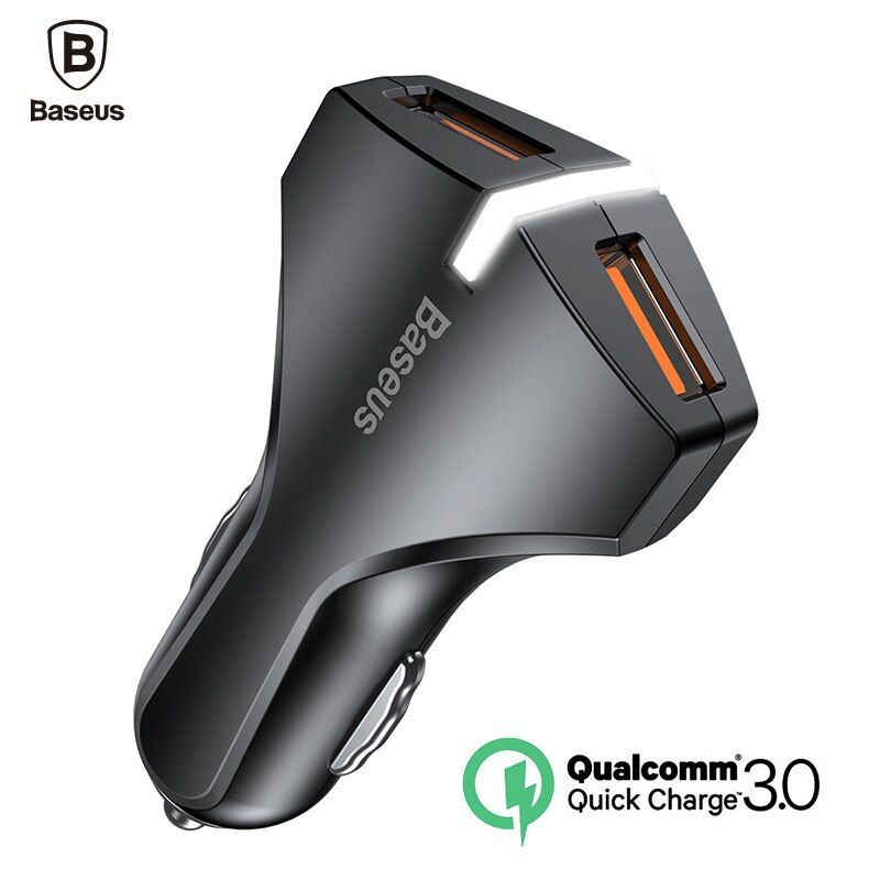 Baseus Charge Rapide 3.0 Chargeur De Voiture 5V3A QC3.0 Turbo Charge Rapide voiture-chargeur Double USB Voiture Chargeur de Téléphone Mobile Pour iPhone 8 7