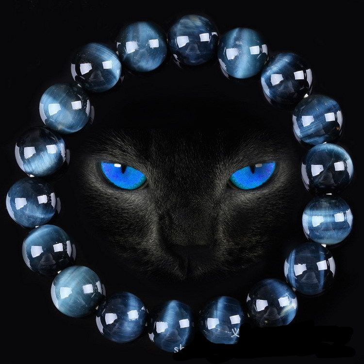 High Quality Blue Tiger Eye Buddha Bracelets Natural Stone Round Beads Elasticity Rope Men Women Bracelet
