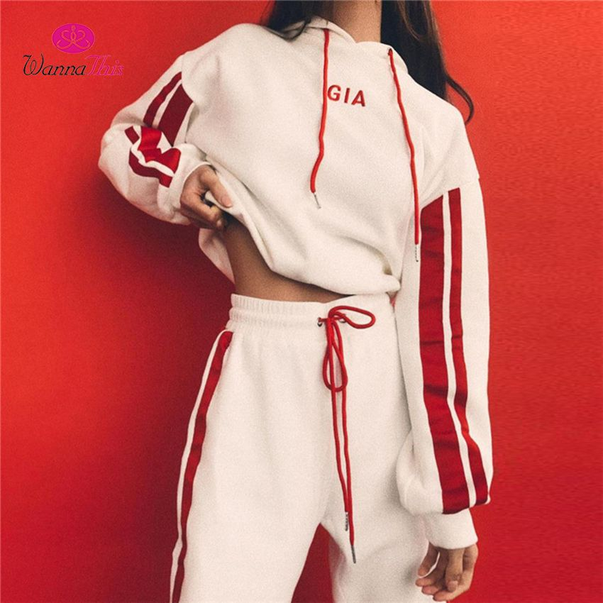 WannaThis 2017 Autumn 2 Pieces Sets Tracksuit Women Hooded Long Sleeve Sweatshirt Side Stripe Pants GIA Embroidery Workout Suits