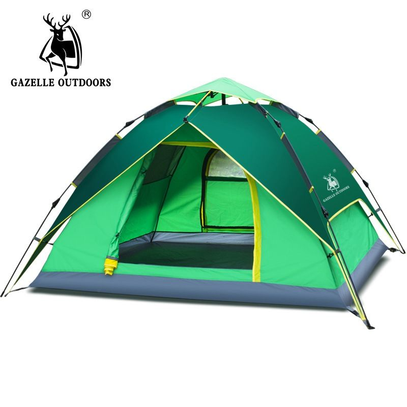 3-4 person Camping Tent Hydraulic Waterproof Double Layer Tents Ultralight Outdoor Hiking Picnic Quick Automatic Opening Tent