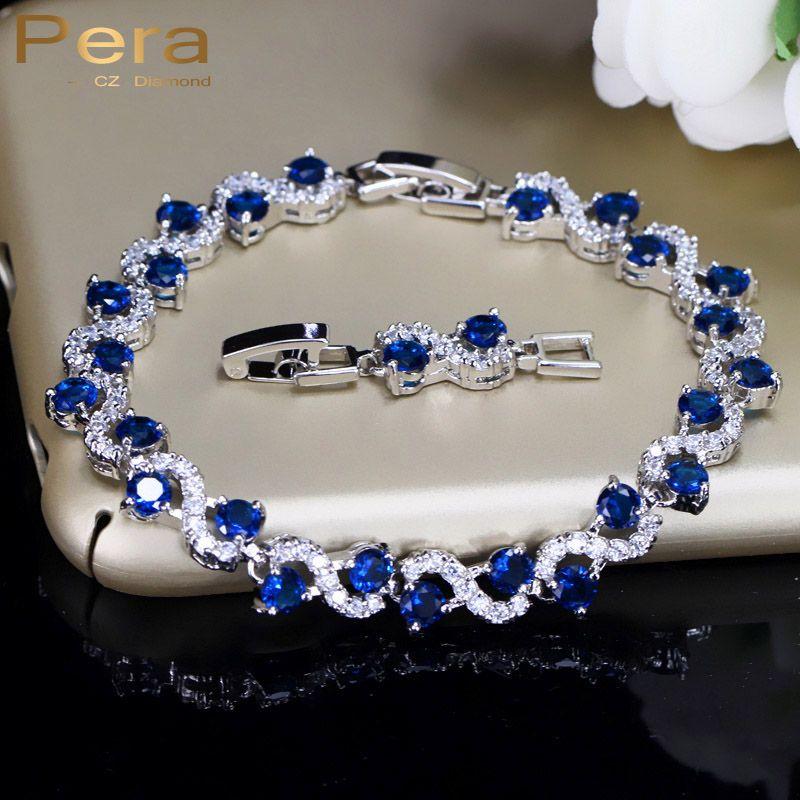 Pera 5 Options De Couleur De Dames De Mode En Argent Sterling Zircon Cubique Bleu Royal Pierre Bracelets Bijoux Pour Cadeau De Noël B017