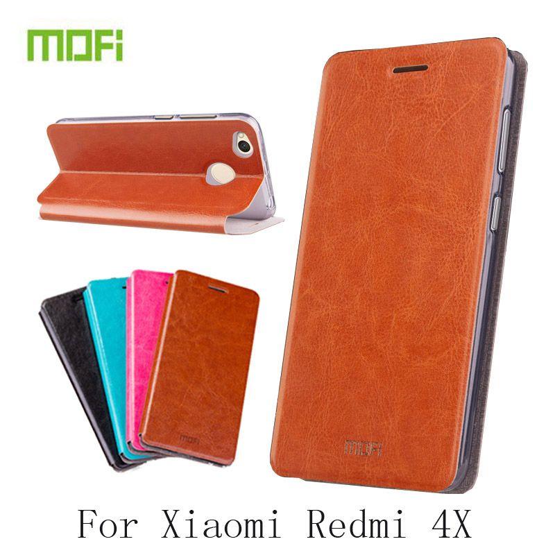 MOFi pour Xiaomi Redmi 4X étui Flip Pu couverture en cuir pour Redmi 4X support de livre coques de téléphone sac de couverture