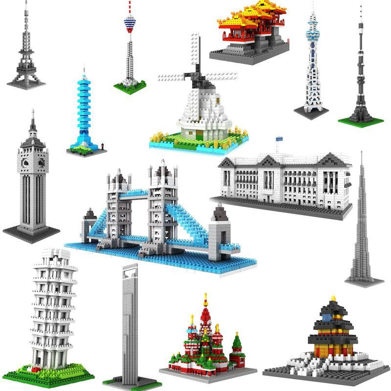 World architecture micro diamond block bigben Athena temple Sphinx Pyramid Statue of Liberty Saint Basil Cathedral nanoblock toy
