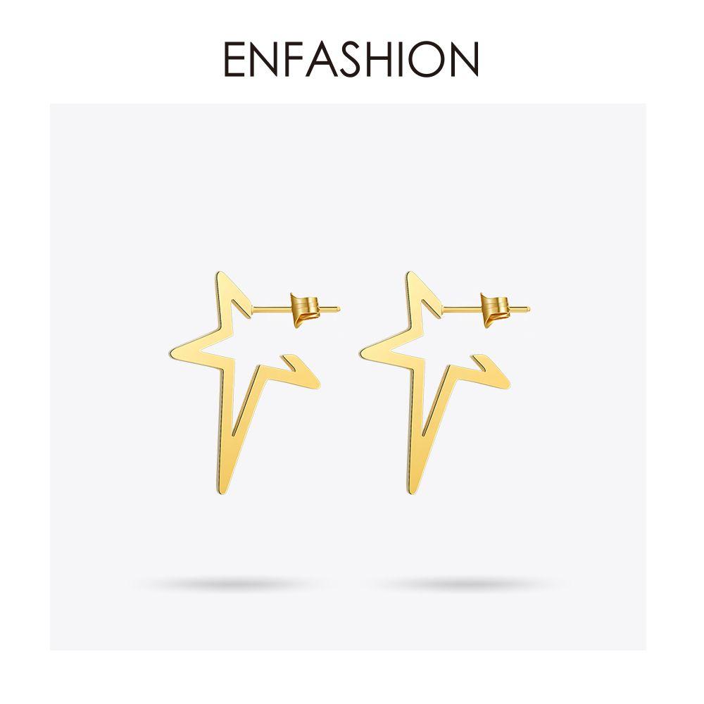 Boucles d'oreilles étoiles Enfashion boucles d'oreilles Punk boucles d'oreilles couleur or Rose boucles d'oreilles en acier inoxydable pour femmes bijoux en gros