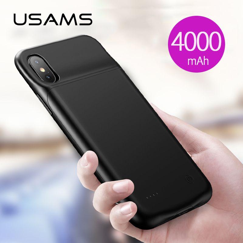 Chargeur de boîtier de batterie intelligent USAMS pour iPhone XR XS Max, batterie de secours de batterie portative externe pour iPhone X XS