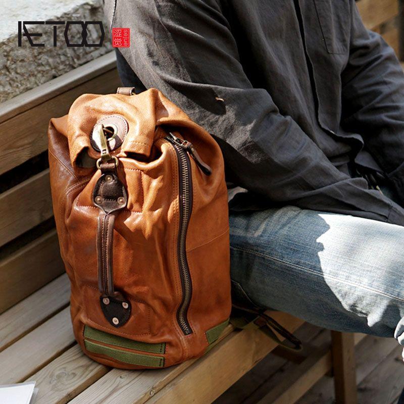 AETOO Vintage handmade cowhide leather shoulder bag shoulder bag chest casual male multi-function old travel bag