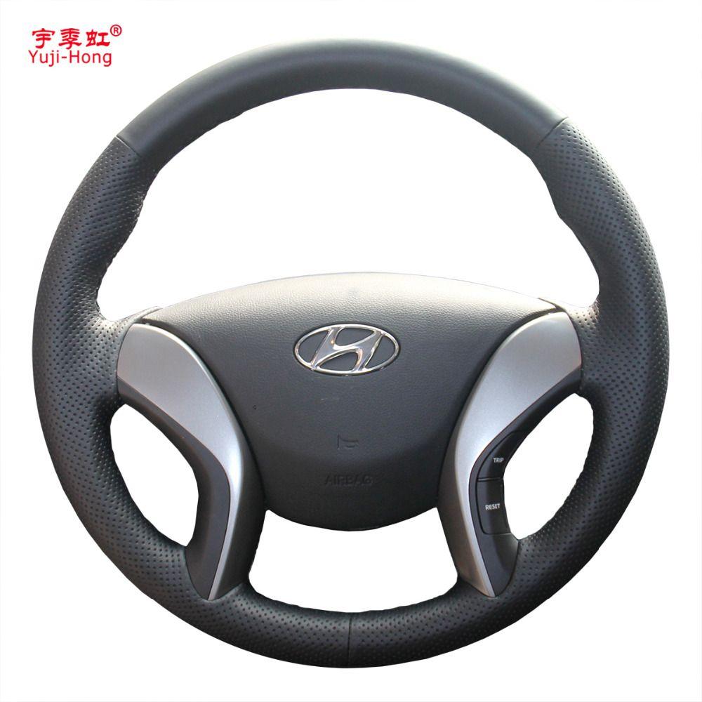 Yuji-Hong Artificial Leather Car Steering Wheel Covers Case for HYUNDAI Elantra 5 Avante i30 2013-2015 Black Cover
