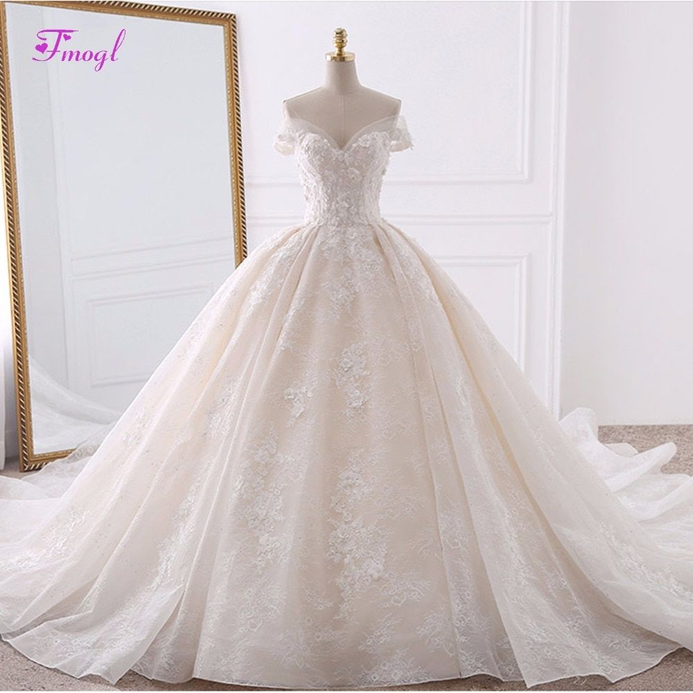 Vestido de Noiva Appliques Lace Flowers Princess Wedding Dresses 2018 Sweetheart Neck Pearls Royal Train Ball Gown Bridal Dress