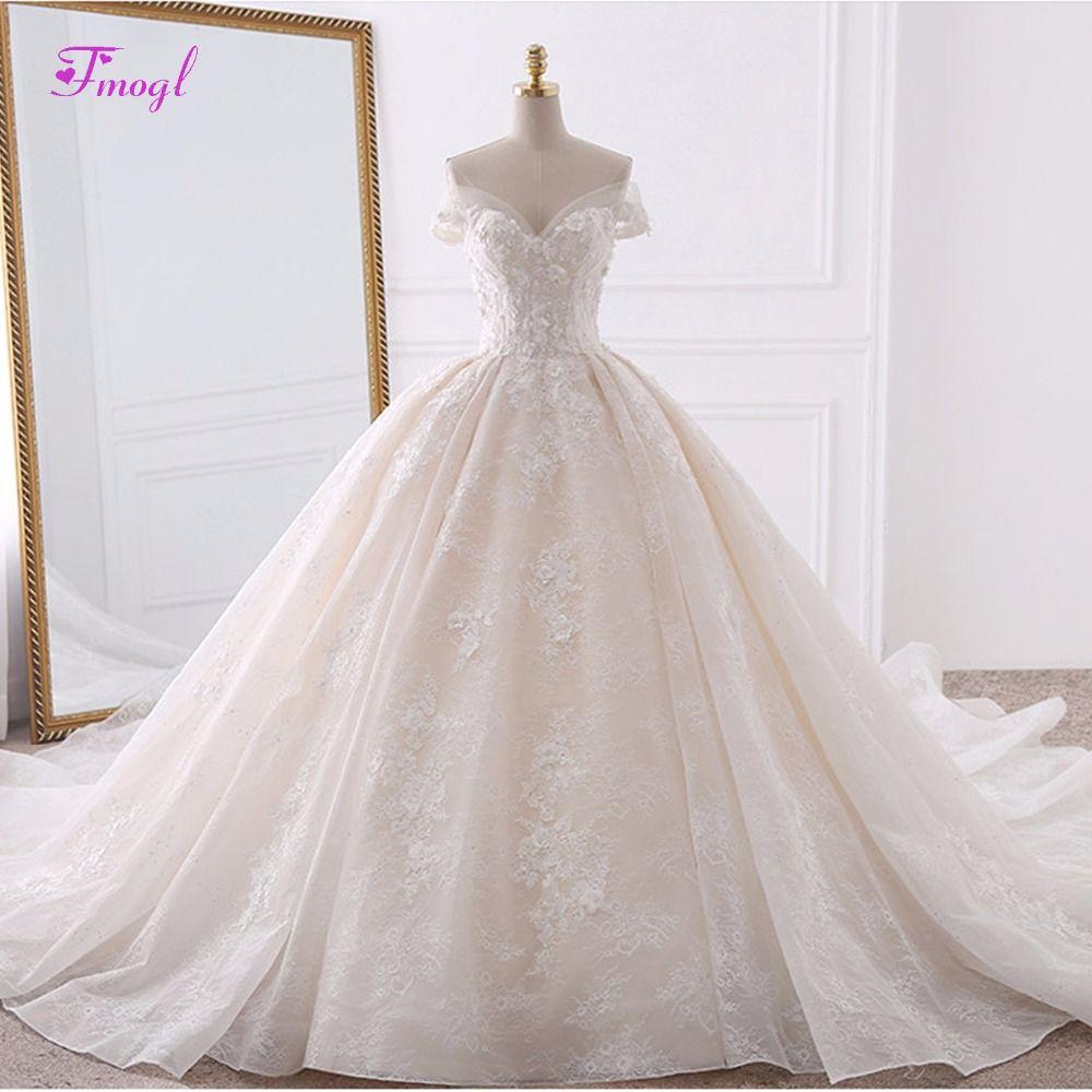 Vestido de Noiva Appliques Spitze Blumen Prinzessin Brautkleider 2018 Schatz Neck Perlen Royal Zug Ballkleid Brautkleid