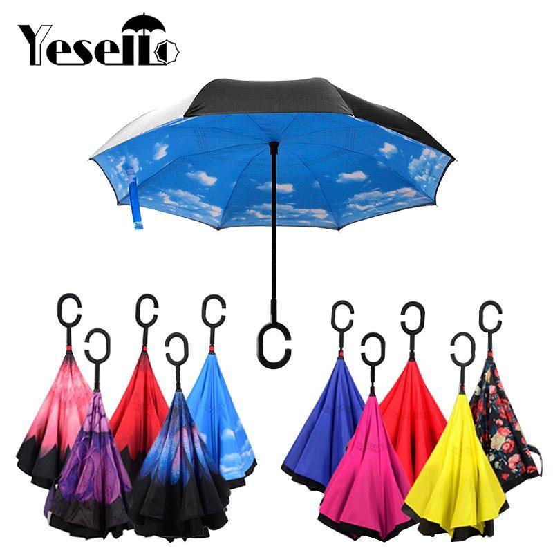 Yesello Pliage Inverse Parapluie couche double Inversé Coupe-Vent Pluie Voiture Parapluies Pour Les Femmes