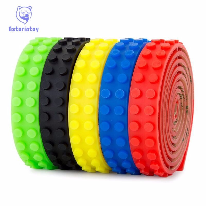 Building block tape Strip sticker 100cm Bendable Flexible soft tape Plate for Small Brick Compatible with legoe toy for children
