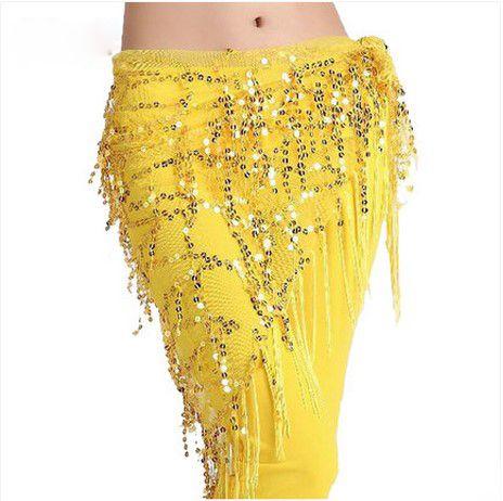 Nuevo estilo de trajes de danza Del Vientre lentejuelas borla cinturón de danza del vientre indio danza del vientre cadera bufanda para las mujeres 11 tipos de colores