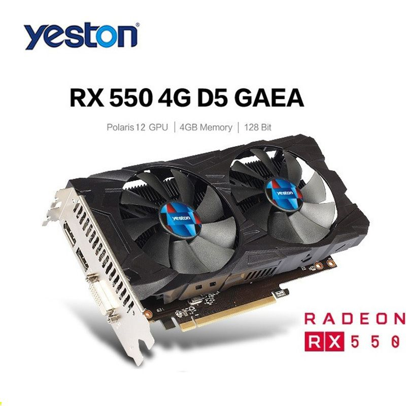 Yeston RX550 4G GDDR5 128bit Gaming Desktop computer PC Video Graphics Cards with Double Silent Temperature Control Fans