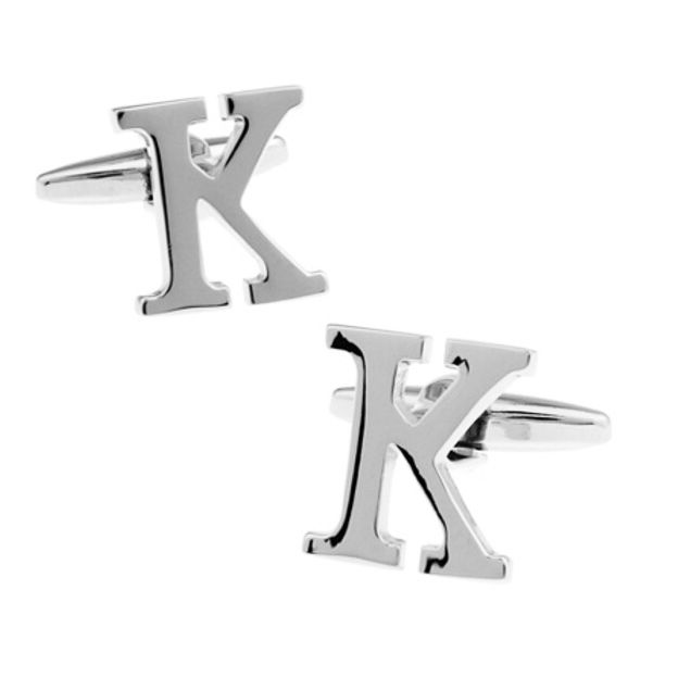 Shirt cuff cufflink silver letter K cufflink copper material design fashion English letters cufflinks free shipping