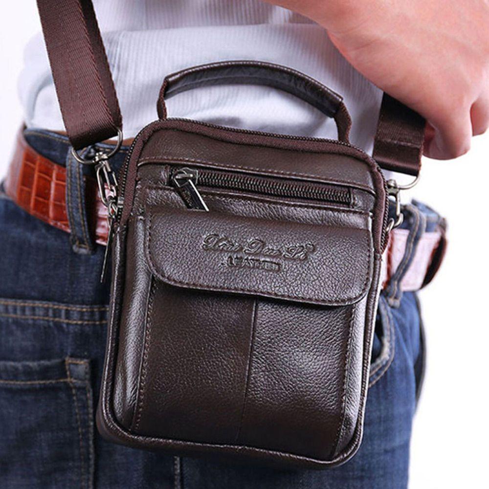 Sac bandoulière en cuir de vachette pour hommes sac bandoulière taille Fanny ceinture Hip Bum homme fourre-tout sac à main sac à main