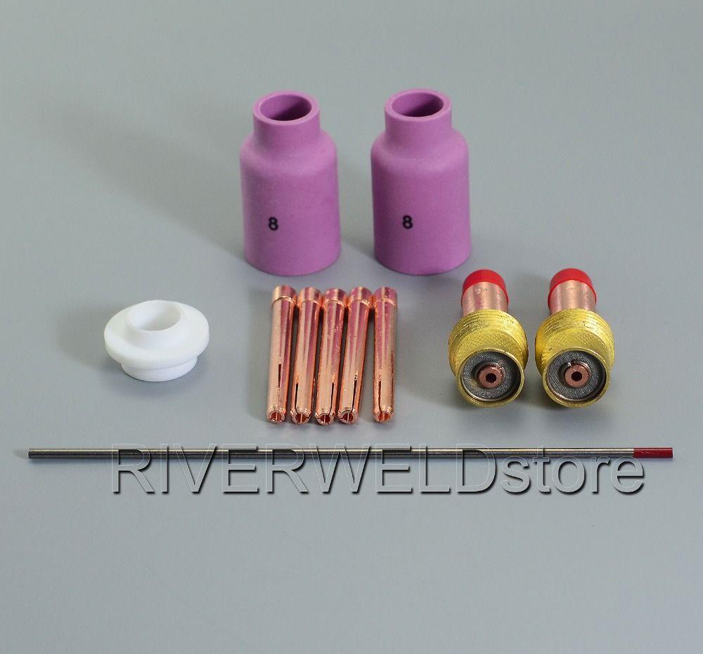 TIG Keramik Tasse Gas Objektiv Collet 45V26 10N24 54N01 2% Thoriated Wolfram KIT WP-17 WP-18 WP-26 Verbrauchs Zubehör, 11PK
