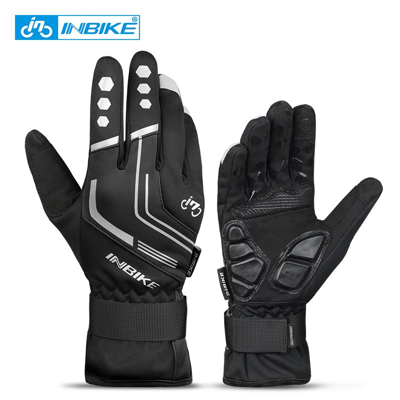 INBIKE 2018 Winter Cycling Gloves Gel <font><b>Padded</b></font> Thermal Full Finger Bike Bicycle Gloves Touch Screen Windproof Men's Gloves GW969R