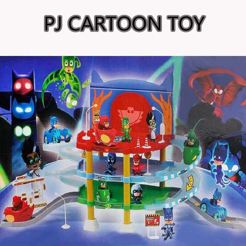 Pj Cartoon Mask 3 Floor Parking Lot Toy Les Pyjamasques Connor Greg Amaya Racing Car Jouet Children Christmas Juguetes Gift