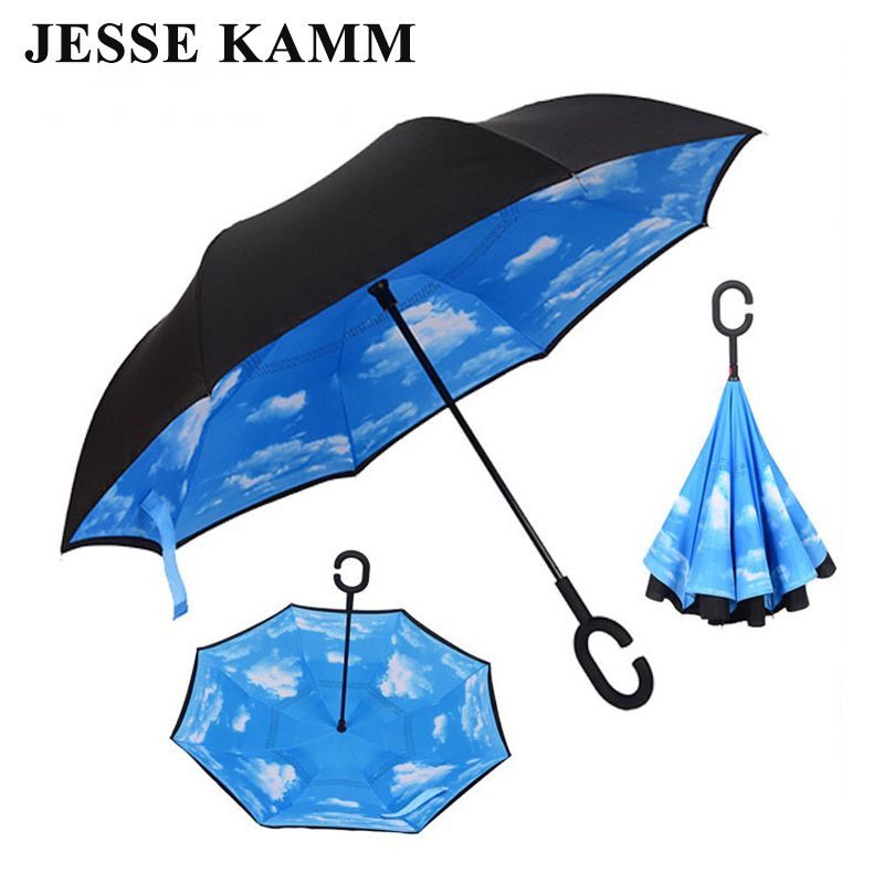 JESSEKAMM Drop Shipping Windproof Reverse Folding Double Layer Inverted Umbrellas Self Stand Rain Sun Protection C-Hook For Car
