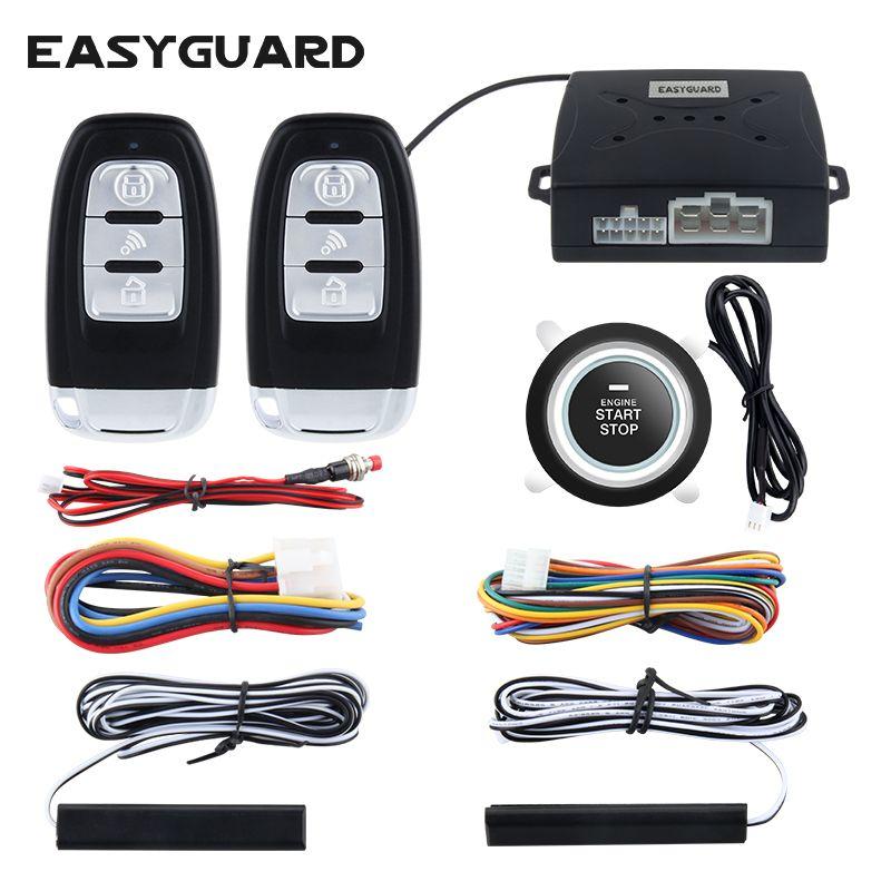 Système d'alarme de voiture pke universel EASYGUARD de qualité entrée sans clé passive et bouton-poussoir démarrage/arrêt démarrage du moteur à distance dc12V