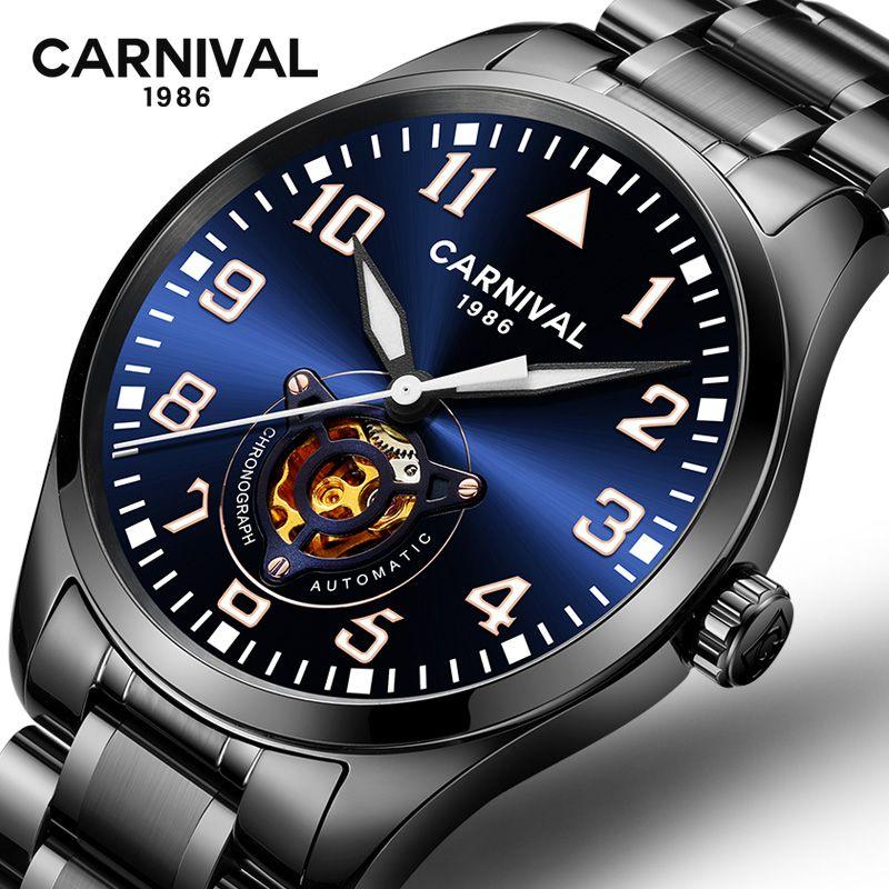 Carnival luxury brand mechanical watch men Hollow out full steel men watches waterproof clock erkek kol saati relogio masculine