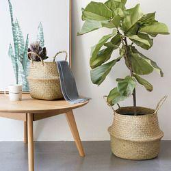 Nouveau Ménage Pliable Naturel Herbiers Tissé De Stockage Pot Jardin Fleur Vase Panier Suspendu Avec Poignée De Stockage Ventre Panier