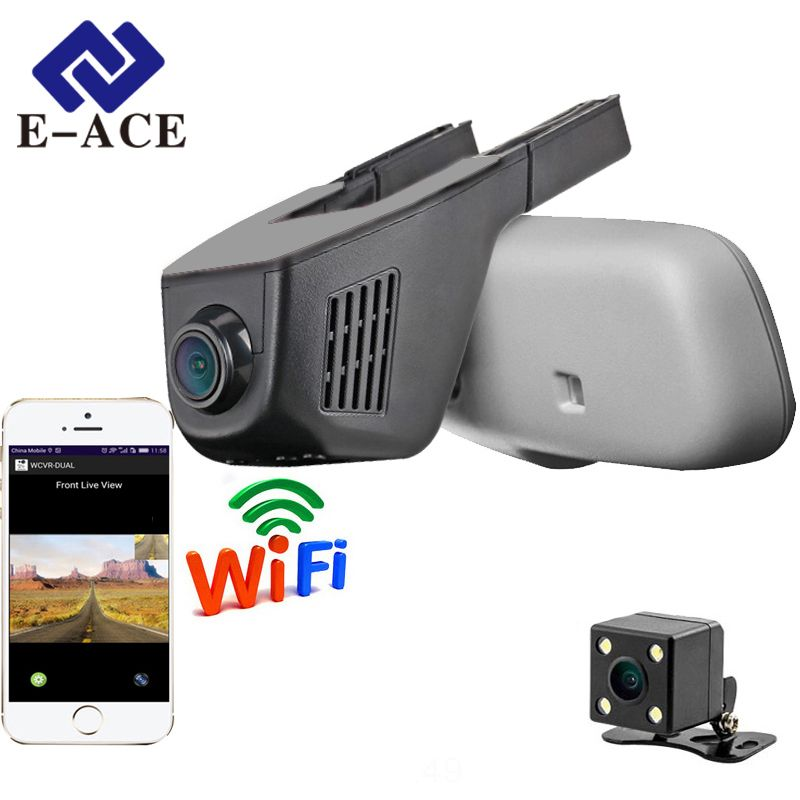 E-ACE Car Dvr WIFI DVRs Dual Camera Lens <font><b>Registrator</b></font> Dashcam Digital Video Recorder Camcorder Full HD 1080P 30FPS Night Version