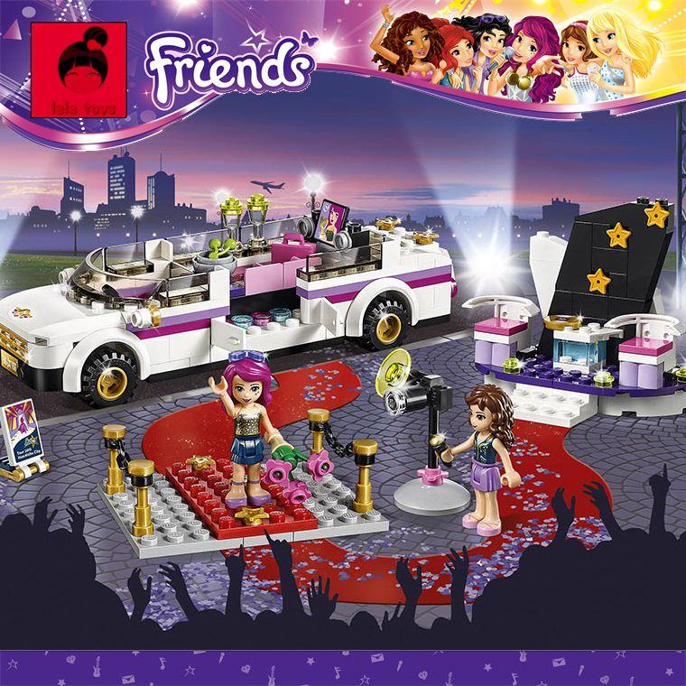 Super Gran 256 unid Building Blocks Set Compatible con lego Friends Series Estrella del Pop Limusina Modelo Brinquedos Juguetes de Los Ladrillos para niñas