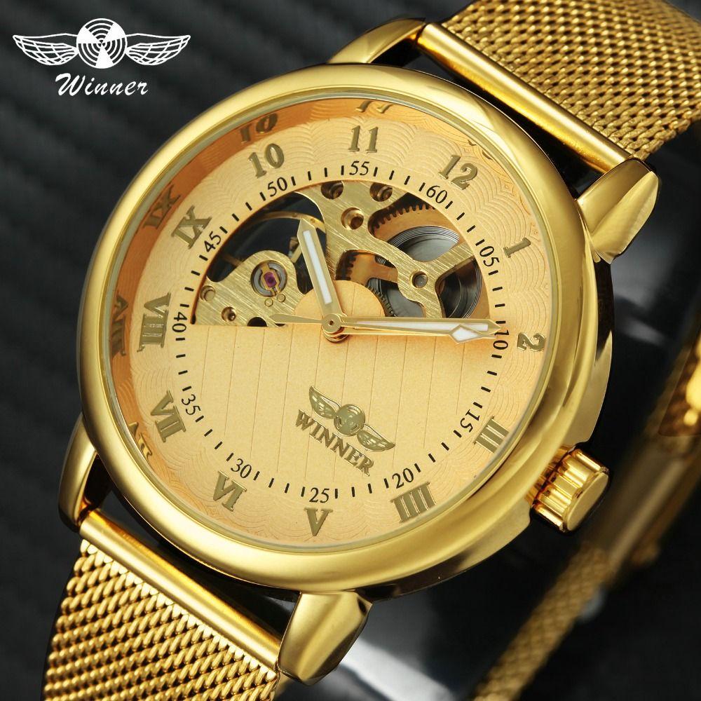 Royal Golden 2018 Men WINNER Mechanical Watches Fan-shaped Skeleton Dial Ultra Thin Mesh Strap Top Brand Luxury Hand-wind Clock