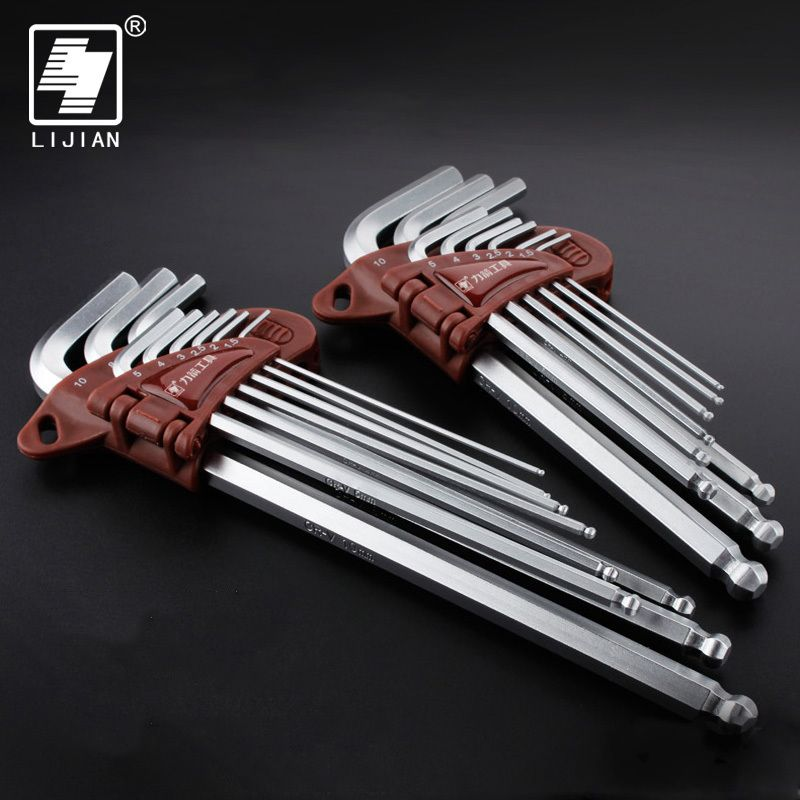 LIJIAN 9pcs/set Hexagon Allen Key Wrench Cr-v Ball Ended Allen Key Wrench Matte Chrome Ball End Spanner Tool Set