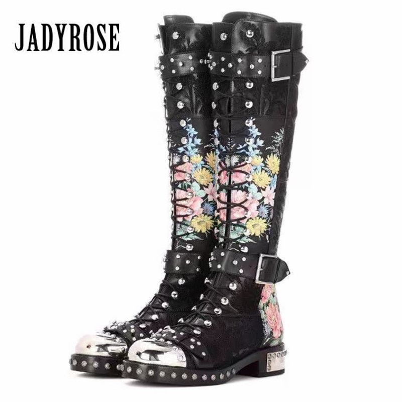 Jady Rose Flower Print Women Knee High Boots Fashion Rivets Studded Riding High Boots Platform Lace Up Botas Mujer for Autumn