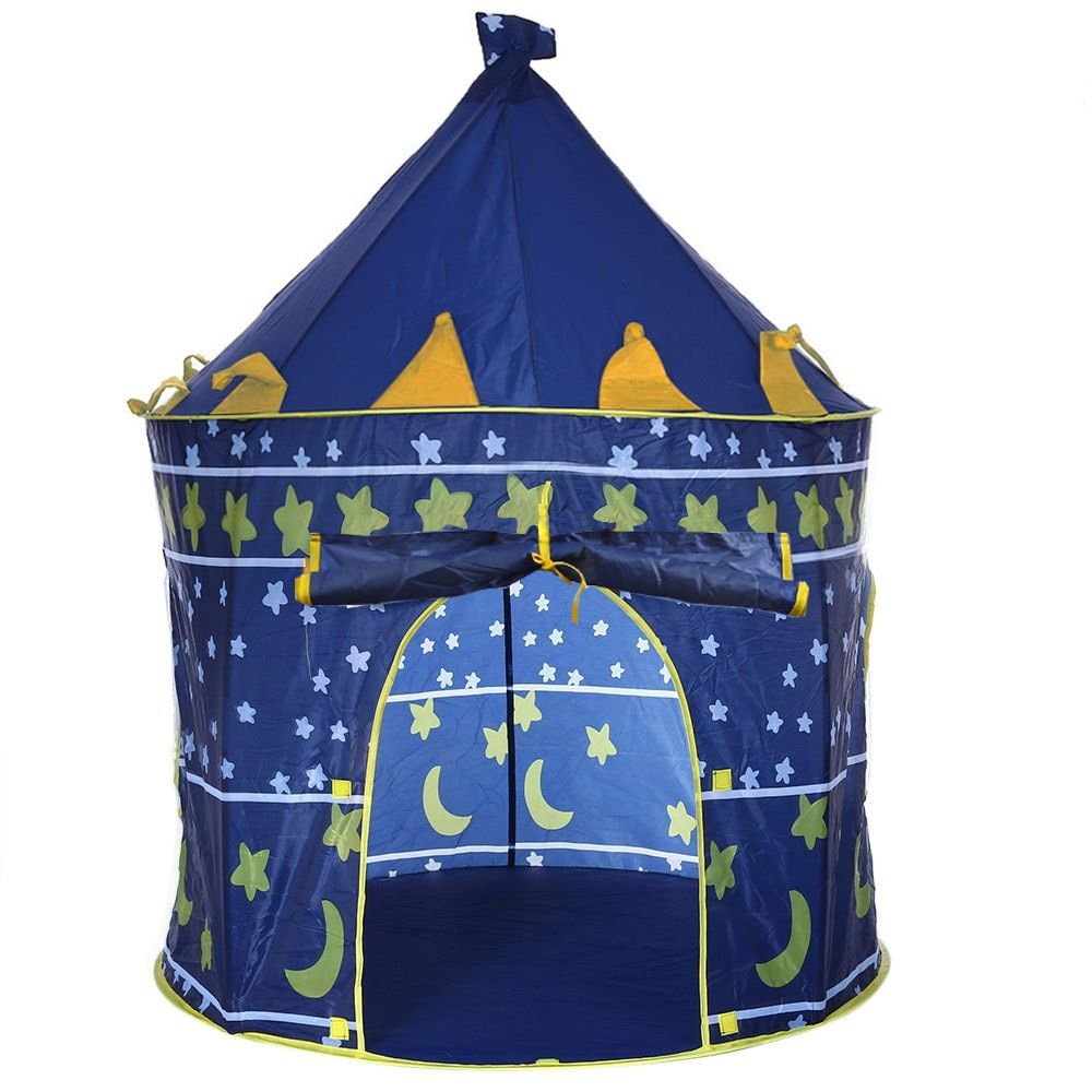 3 Colors Play Tent Portable Foldable Tipi Prince Folding Tent Children Boy Castle Cubby Play House Kids Gifts Outdoor Toy Tents