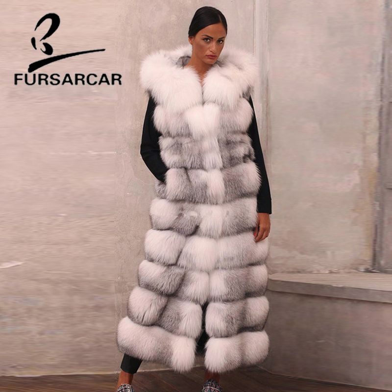 FURSARCAR Real Fur Vest For Women With Fox Fur Hood Natural Genuine Fox Fur Gilet 130 CM Winter Long Waistcoat