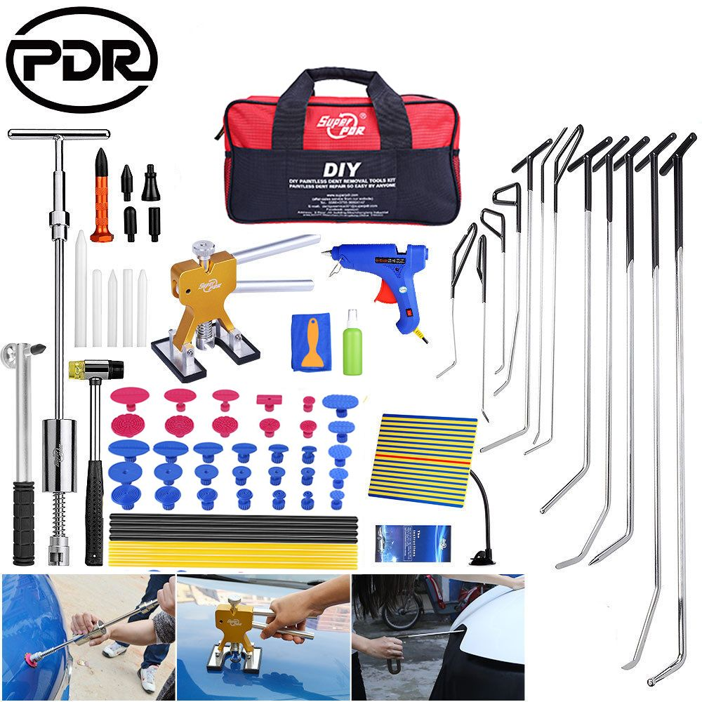PDR Tools To Remove Dents Hooks Push Rod Repair Kit Dents Removal Car Repair Tools Auto Tool Set Door Dent Hail Removal