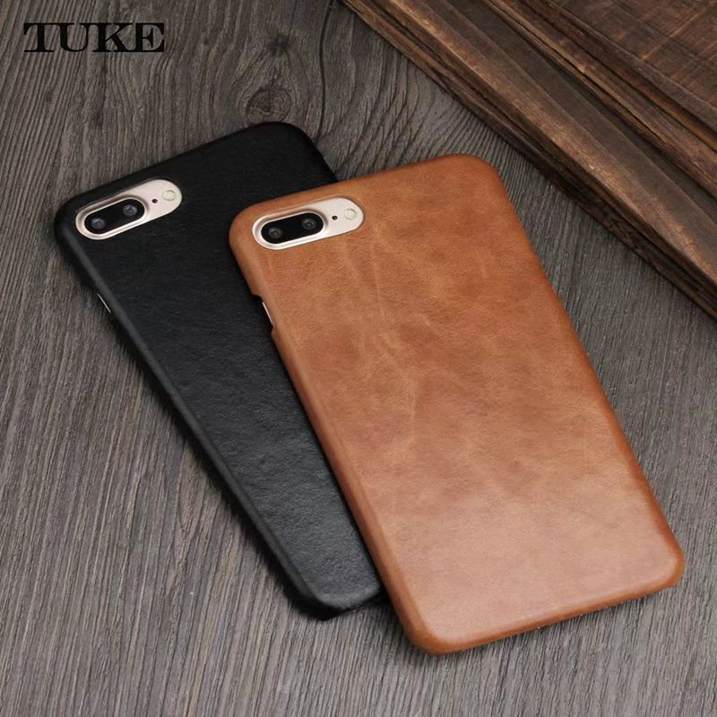 TUKE For Apple iPhone 7 Case For iPhone X XS Max XR Cover Cow Genuine Leather Luxury Matte Hard Cases for iPhone 7 8 6 6s Plus