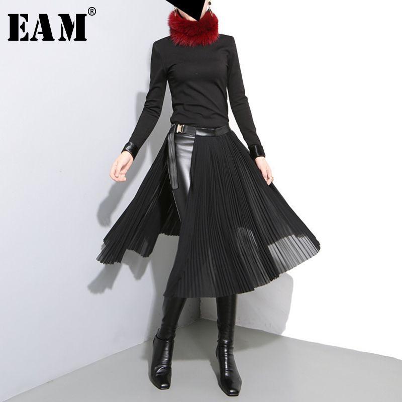 [EAM] 2017 nouveau automne hiver taille haute solide couleur noir plissée lâche commune fendue demi-corps jupe femmes de mode marée JD10501