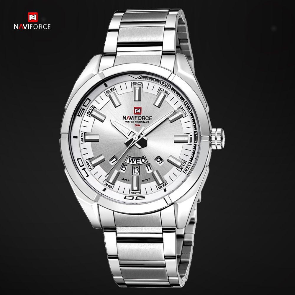NAVIFORCE Top Business Brand Full Steel Men Quartz Watches Fashion Casual Analog Male Clock Watch Waterproof Relogio Masculino