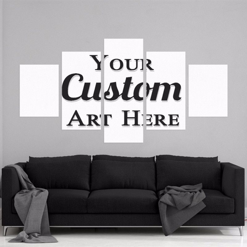 Wall Art Customized HD Printed Painting Custom Made Canvas Picture Frame 5 Panel Modular Abstract Poster Home Decor Photo PENGDA
