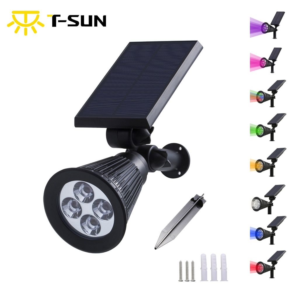 T-SUNRISE Solar Spotlight Lamp Waterproof IP65 Outdoor Lighting LED Solar Light Garden Lawn Lamp Landscape Wall Lights